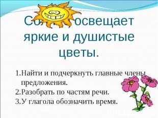 Солнце освещает яркие и душистые цветы. Найти и подчеркнуть главные члены предло