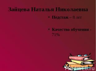 Зайцева Наталья НиколаевнаПедстаж – 8 летКачество обучения - 71%