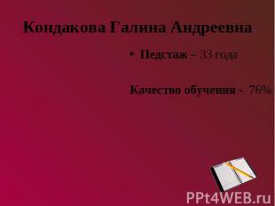 Кондакова Галина АндреевнаПедстаж – 33 годаКачество обучения - 76%