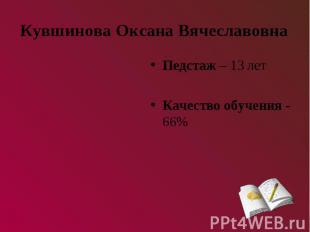 Кувшинова Оксана ВячеславовнаПедстаж – 13 летКачество обучения - 66%