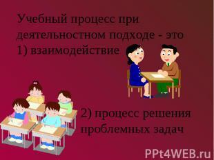 Учебный процесс при деятельностном подходе - это1) взаимодействие2) процесс реше