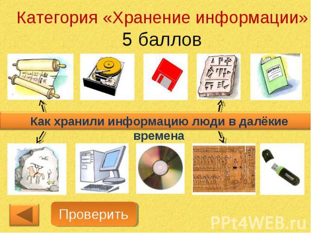 Категория «Хранение информации»5 балловКак хранили информацию люди в далёкие времена
