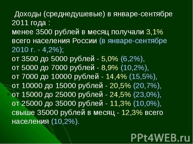Доходы (среднедушевые) в январе-сентябре 2011 года :менее 3500 рублей в месяц получали 3,1% всего населения России (в январе-сентябре 2010 г. - 4,2%);от 3500 до 5000 рублей - 5,0% (6,2%), от 5000 до 7000 рублей - 8,9% (10,2%), от 7000 до 10000 руб…