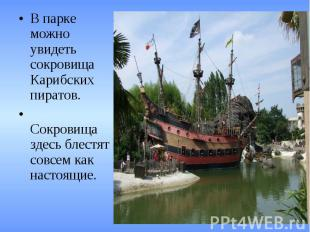 В парке можно увидеть сокровища Карибских пиратов. Сокровища здесь блестят совсе