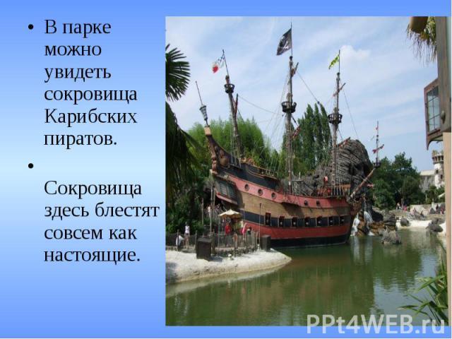 В парке можно увидеть сокровища Карибских пиратов. Сокровища здесь блестят совсем как настоящие.
