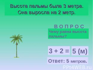 Высота пальмы была 3 метра. Она выросла на 2 метр.Чему равна высота пальмы?