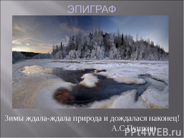 ЭПИГРАФЗимы ждала-ждала природа и дождалася наконец! А.С.Пушкин