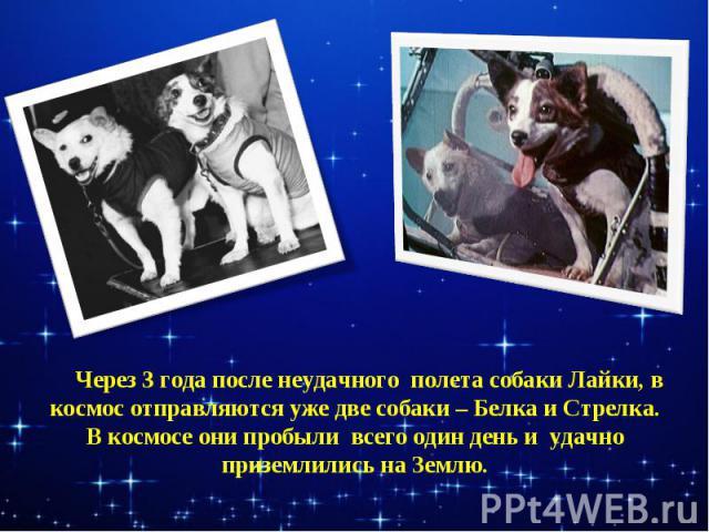 Через 3 года после неудачного полета собаки Лайки, в космос отправляются уже две собаки – Белка и Стрелка.В космосе они пробыли всего один день и удачно приземлились на Землю.
