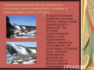 Специализированная детско-юношеская спортивная школа олимпийского резерва по зим