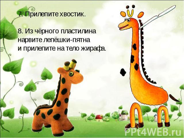 7. Прилепите хвостик.8. Из чёрного пластилинанарвите лепёшки-пятнаи прилепите на тело жирафа.