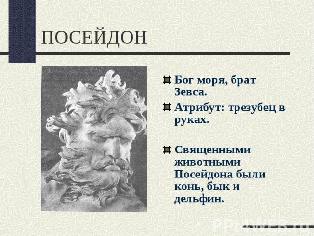 ПОСЕЙДОНБог моря, брат Зевса.Атрибут: трезубец в руках.Священными животными Посейдона были конь, бык и дельфин.