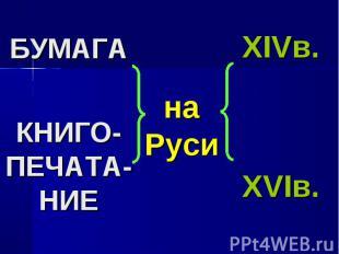 БУМАГАКНИГО-ПЕЧАТА-НИЕна РусиXIVв.XVIв.