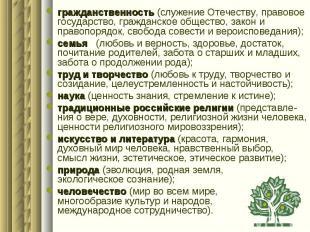 гражданственность (служение Отечеству, правовое государство, гражданское обществ
