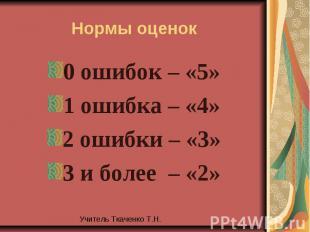 Нормы оценок0 ошибок – «5»1 ошибка – «4»2 ошибки – «3»3 и более – «2»