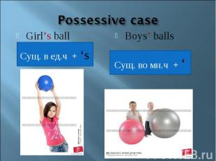 Possessive caseGirl's ballСущ. в ед.ч + 'sBoys' ballsСущ. во мн.ч + '