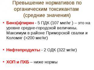 Превышение нормативов по органическим токсикантам (средние значения)Бенз(а)пирен