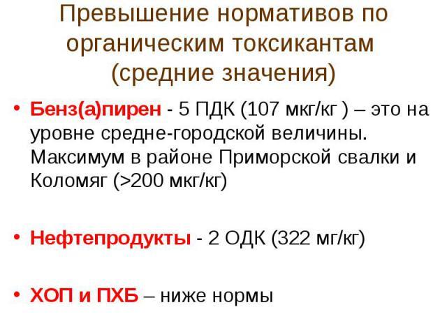 Превышение нормативов по органическим токсикантам (средние значения)Бенз(а)пирен - 5 ПДК (107 мкг/кг ) – это на уровне средне-городской величины. Максимум в районе Приморской свалки и Коломяг (>200 мкг/кг)Нефтепродукты - 2 ОДК (322 мг/кг)ХОП и ПХБ –…