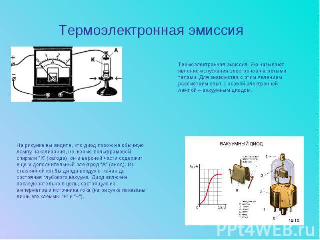 Термоэлектронная эмиссияТермоэлектронная эмиссия. Ею называют явление испускания электронов нагретыми телами. Для знакомства с этим явлением рассмотрим опыт с особой электронной лампой – вакуумным диодом.На рисунке вы видите, что диод похож на обычн…