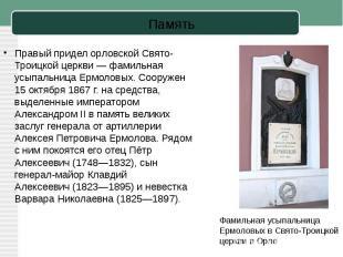 Правый придел орловской Свято-Троицкой церкви— фамильная усыпальница Ермоловых.