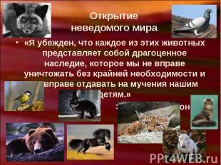Открытие неведомого мира«Я убежден, что каждое из этих животных представляет соб