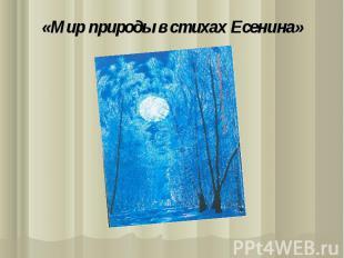«Мир природы в стихах Есенина»
