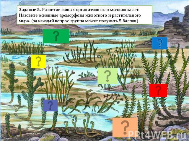 Задание 5. Развитие живых организмов шло миллионы лет. Назовите основные ароморфозы животного и растительного мира. (за каждый вопрос группа может получить 5 баллов)
