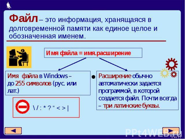 Файл – это информация, хранящаяся в долговременной памяти как единое целое и обозначенная именем.Имя файла в Windows – до 255 символов (рус. или лат.)Расширение обычно автоматически задается программой, в которой создается файл. Почти всегда – три л…