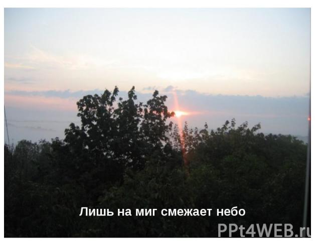 Лишь на миг смежает небо