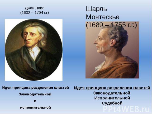 Джон Локк (1632 – 1704 г.г)Идея принципа разделения властейЗаконодательной и исполнительнойШарль Монтескье(1689 – 1755 г.г.)Идея принципа разделения властейЗаконодательной ИсполнительнойСудебной