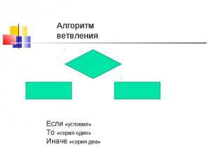 Алгоритм ветвленияЕсли «условие» То «серия один»Иначе «серия два»