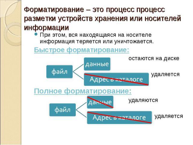 Форматирование – это процесспроцесс разметки устройств хранения или носителей информацииПри этом, вся находящаяся на носителе информация теряется или уничтожается.Быстрое форматирование:остаются на диске удаляетсяПолное форматирование: удаляются у…