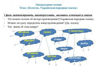 Литературное чтениеТема: «Колосок. Украинская народная сказка»I фаза- активизиро