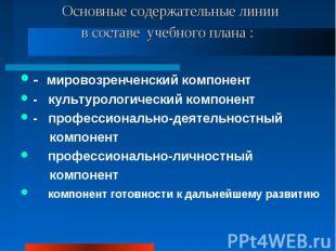 Основные содержательные линии в составе учебного плана : - мировозренченский ком