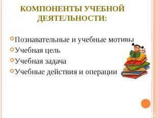 компоненты учебной деятельности:Познавательные и учебные мотивыУчебная цельУчебн
