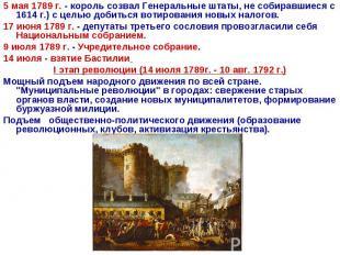 5 мая 1789 г. - король созвал Генеральные штаты, не собиравшиеся с 1614 г.) с це