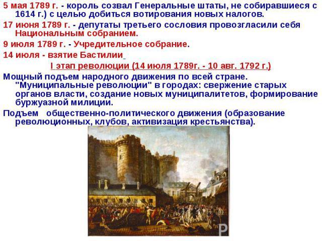 5 мая 1789 г. - король созвал Генеральные штаты, не собиравшиеся с 1614 г.) с целью добиться вотирования новых налогов. 17 июня 1789 г. - депутаты третьего сословия провозгласили себя Национальным собранием. 9 июля 1789 г. - Учредительное собрание.1…
