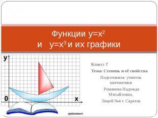 Функции y=x2 и y=x3 и их графики Класс: 7Тема: Степень и её свойстваПодготовила:
