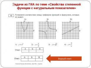 Задачи из ГИА по теме «Свойства степенной функции с натуральным показателем»