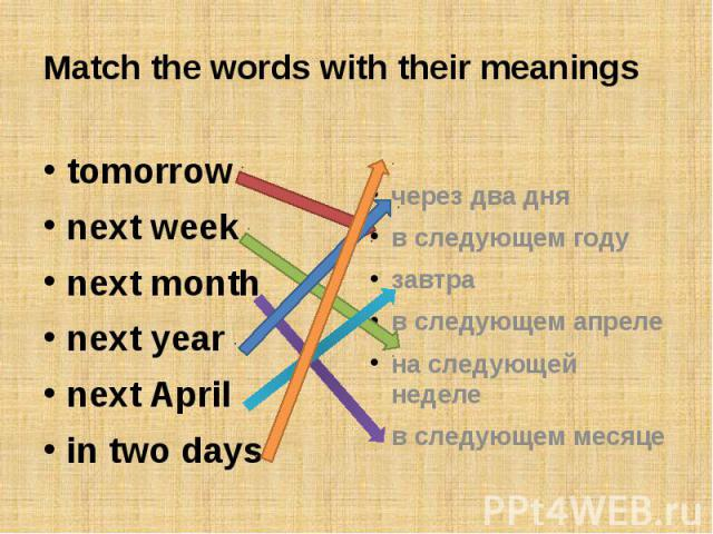 Match the words with their meaningstomorrownext weeknext monthnext yearnext Aprilin two daysчерез два дняв следующем годузавтрав следующем апрелена следующей неделев следующем месяце
