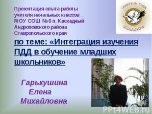 Презентация опыта работыучителя начальных классовМОУ СОШ № 6 п. Каскадный Андроп