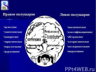 Правое полушариецелостноесинтетическое конкретноеэвристическоепараллельноедедукт