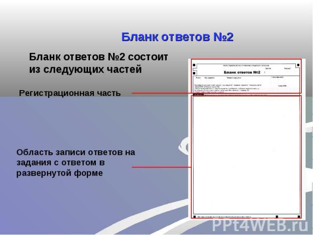 Бланк ответов №2Бланк ответов №2 состоит из следующих частейОбласть записи ответов на задания с ответом в развернутой форме