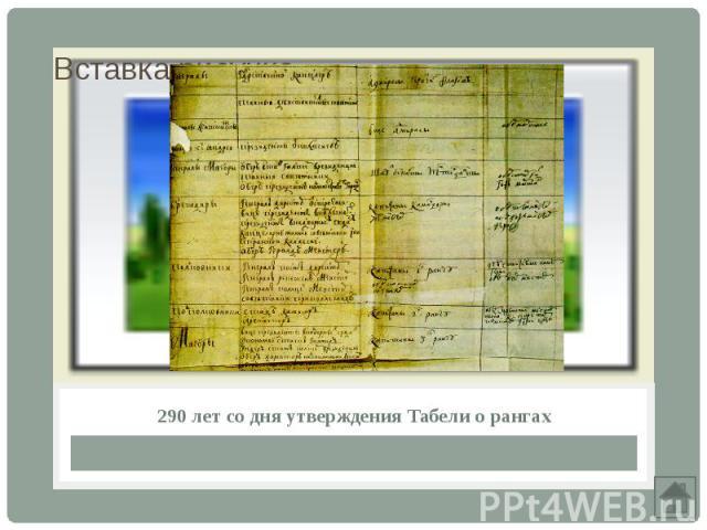 290 лет со дня утверждения Табели о рангах