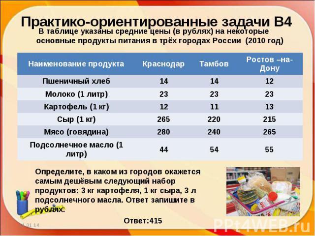 Практико-ориентированные задачи В4В таблице указаны средние цены (в рублях) на некоторые основные продукты питания в трёх городах России (2010 год)Определите, в каком из городов окажется самым дешёвым следующий набор продуктов: 3 кг картофеля, 1 кг …