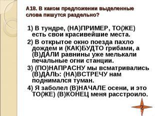 А18. В каком предложении выделенные слова пишутся раздельно?1) В тундре, (НА)ПРИ
