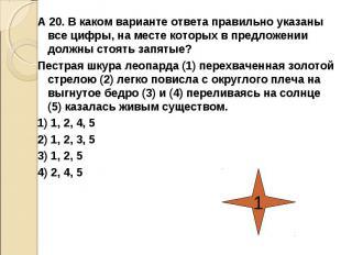 А 20. В каком варианте ответа правильно указаны все цифры, на месте которых в пр