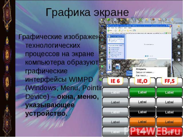 Графика экране Графические изображения технологических процессов на экране компьютера образуют графические интерфейсы WIMPD (Windows, Menu, Pointing Device) – окна, меню, указывающее устройство.
