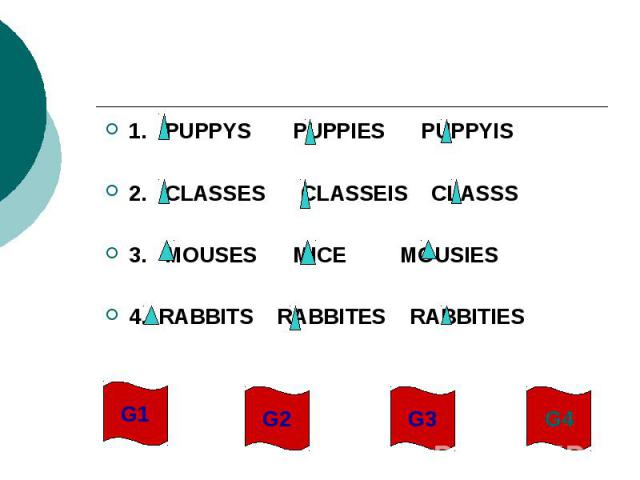 1. PUPPYS PUPPIES PUPPYIS2. CLASSES CLASSEIS CLASSS3. MOUSES MICE MOUSIES4. RABBITS RABBITES RABBITIES