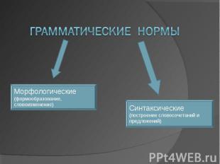 Грамматические нормы Морфологические(формообразование, словоизменение) Синтаксич