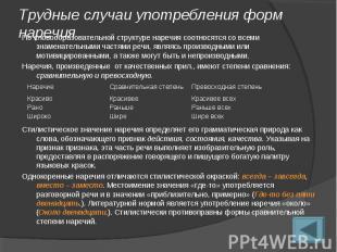 Трудные случаи употребления форм наречияПо словообразовательной структуре наречи